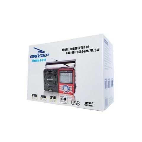 Caixa de Som Portátil D-F10 Grasep Pen Drive Mp3 Radio Am Fm Sw Recarregável Amplificada