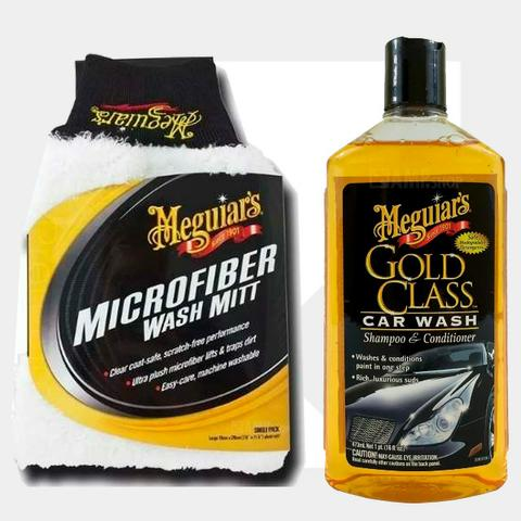Kit Lavação Luva Microfibra + Gold Class Meguiars