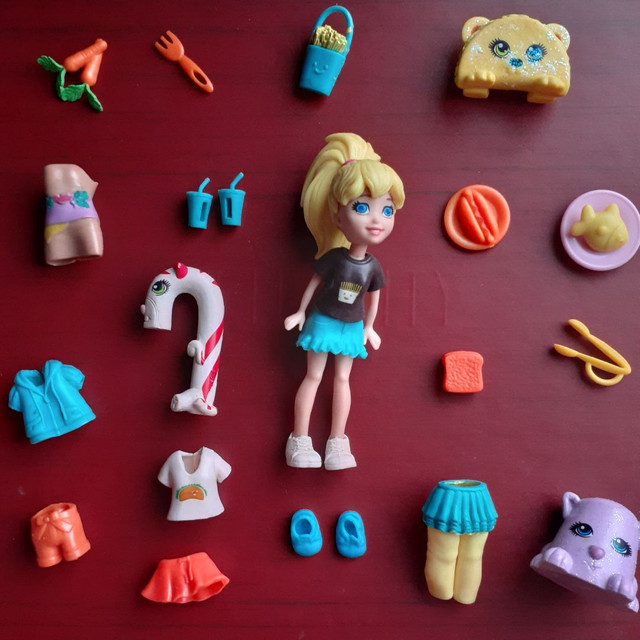 Kit da boneca polly lanchonete brinquedo