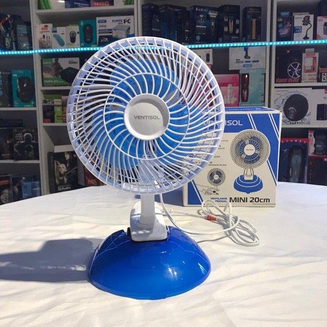Ventilador de mesa Ventisol Mini branco com 3 pás cor azul, 20 cm de diâmetro 127v - Foto 5