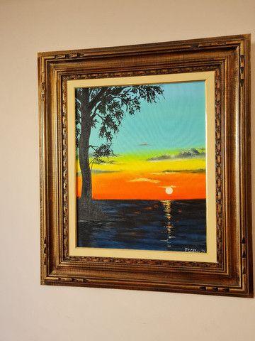 quadro do por do sol com moldura  - Foto 2