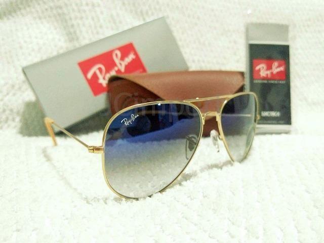 8efe4f1ef Óculos de Sol Ray Ban Aviador Azul Degradê 3025/3026 Unissex Novo ...