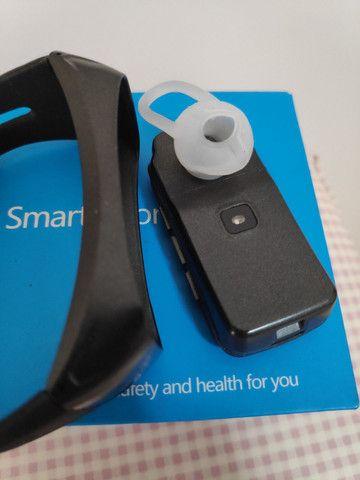 Smartwatch Fone e Relógio monitor cardíaco calorias 2 em 1 - Foto 4