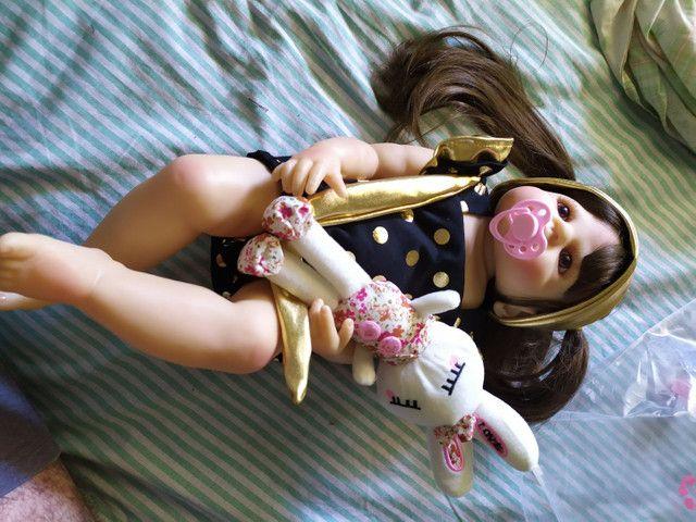 Boneca Bebê Reborn 55cm toda de silicone NOVA - Foto 2