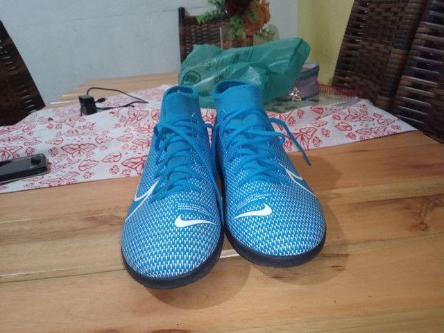 Chuteira Futsal Nike Mercurial Superfly 7 Academy IN - Azul+Branco<br><br> - Foto 2