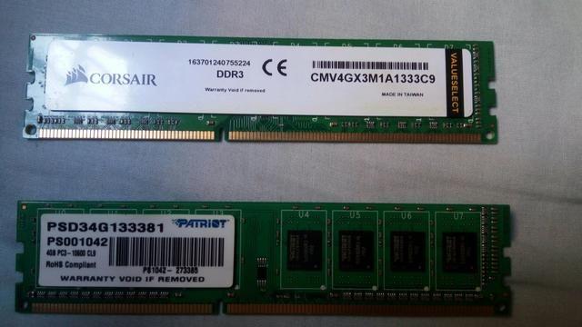 2 memórias RAM 4GB 1333MHZ DDR3