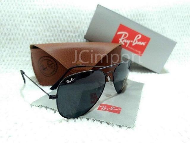 Óculos de Sol Ray Ban Aviador Preto 3025 3026 Lentes de Vidro ... 244ae5e49e