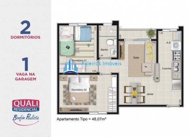 Apartamento 2 dormitórios com sacada e lazer completo MCMV - Apartamento em Lanç... - Foto 11