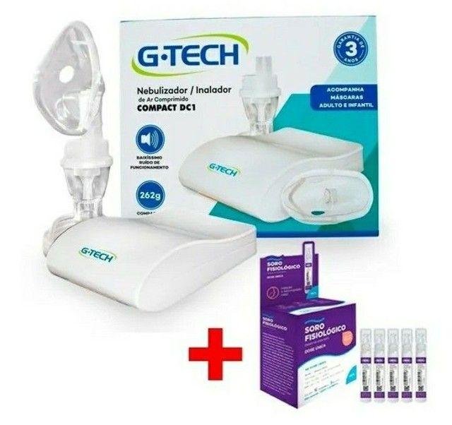 Inalador e Nebulizador Compact Dc1 G-tech + Soro Fisiológico