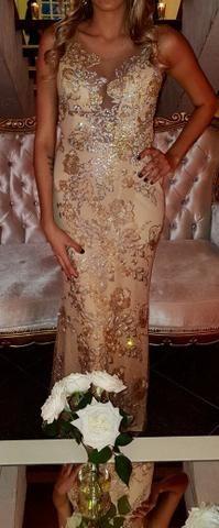 Vestido de festa madrinha dourado renda bordado