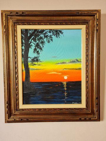 quadro do por do sol com moldura  - Foto 3
