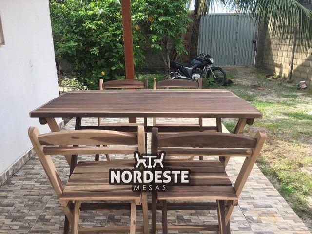 Mesa e cadeira desmontável madeira  - Foto 4