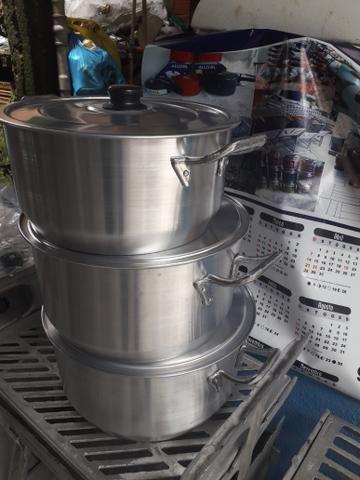 Jogo de panelas alumínio 6 8 10 litros - Foto 3