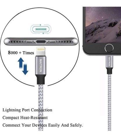 Cabo Lightnining P/ Usb P/ Apple 2m Trançado Em Nylon - Novo - Foto 5