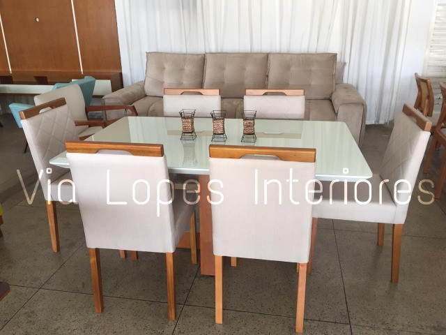 Mesa de 2.10 com oito cadeiras aqui na Via Lopes wpp 62 9  * - Foto 2
