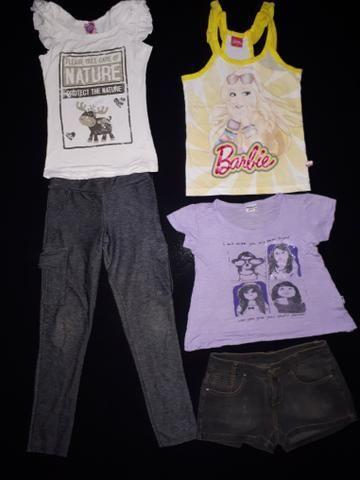 Lote menina tam 10_calça, short jeans e 3 blusas