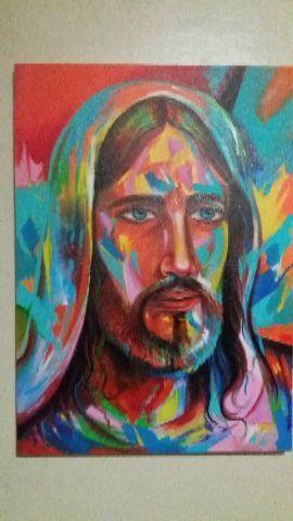 Cristo em acrílico sobre tela