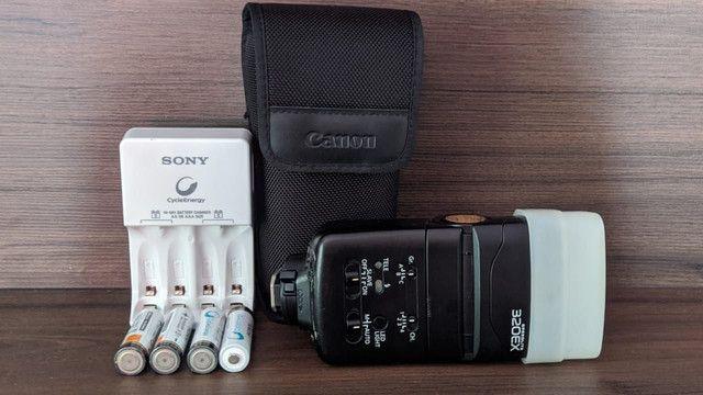 Flash EX 320 Canon com pilhas Sony recarregável  - Foto 5