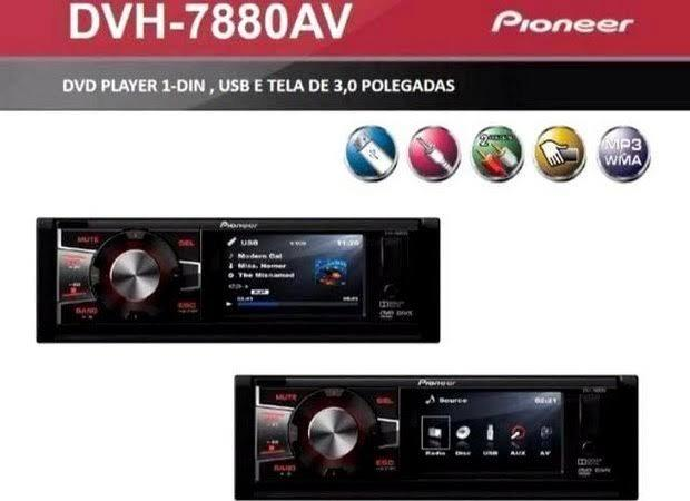 f98c60b559ee2 DVD Player Automotivo Pioneer DVH-7880AV 1 Din 3 Pol USB AUX MP3 CD ...