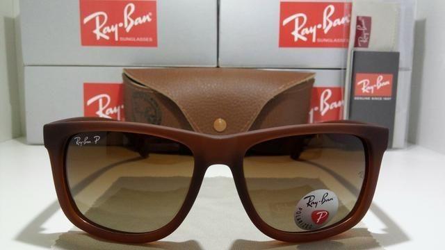 Óculos de Sol Ray Ban Justin Marrom RB4165 Polarizado - Bijouterias ... f0c3a3cba1