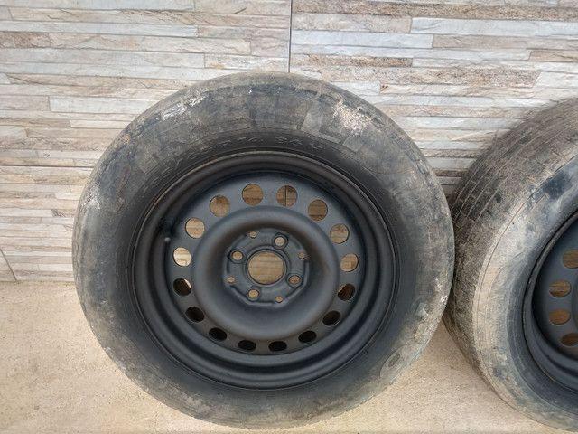 Jogo de rodas 14 de ferro semi novas de furação 4x100 - Foto 3