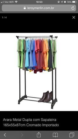Arara dupla para roupas cromado importado - Utilidades