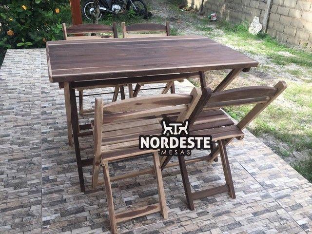 Mesa e cadeira desmontável madeira  - Foto 3