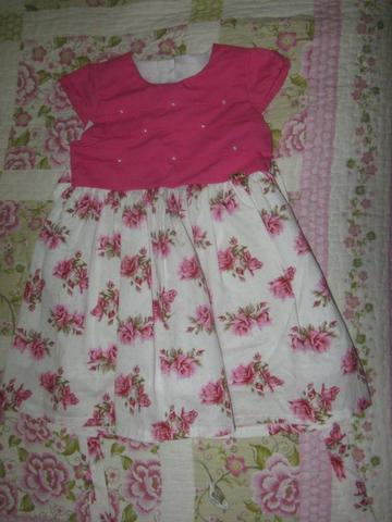 Vestido rosa florido - 2 anos