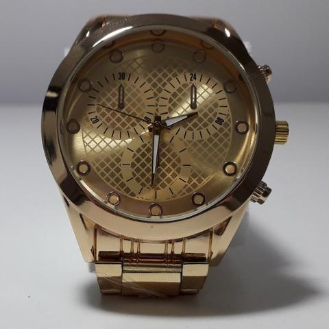 fcba50383a7 Relógio masculino aço dourado - Bijouterias