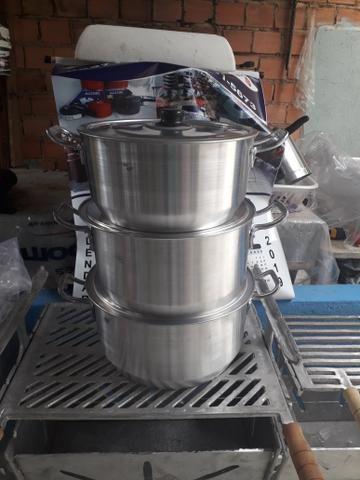 Jogo de panelas alumínio 6 8 10 litros - Foto 2