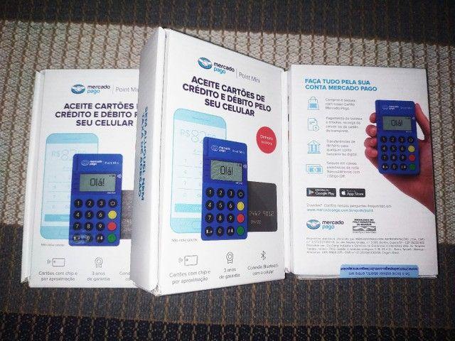 Maquininha mini point via bluetooth  tela ancende com pagamento com aproximação.