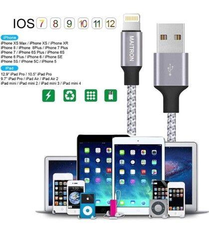 Cabo Lightnining P/ Usb P/ Apple 2m Trançado Em Nylon - Novo - Foto 3
