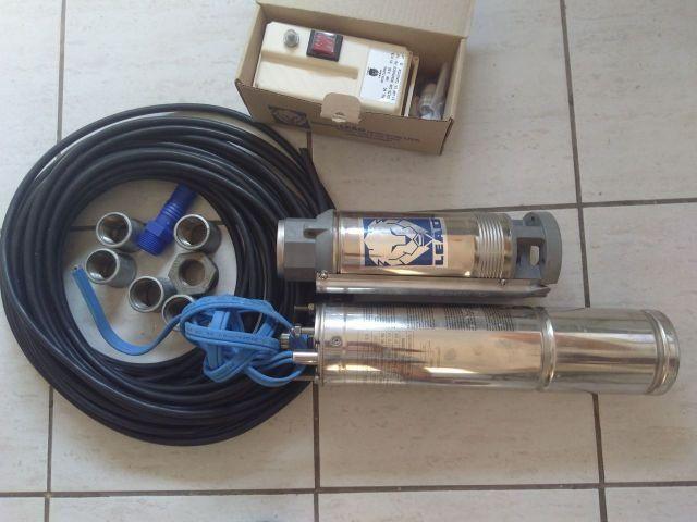 Bomba submersa Leão 0,75 CV (0,55 KW / 230 V – Monofásica / 60 Hz) + acessórios (novos)