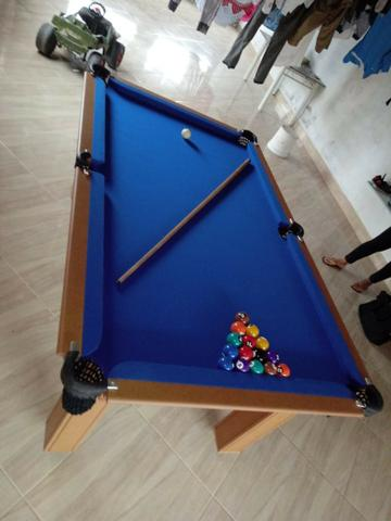 Mesa Tentação de Sinuca Cor Cerejeira Tecido Azul Mod. WOKO3720 - Foto 3
