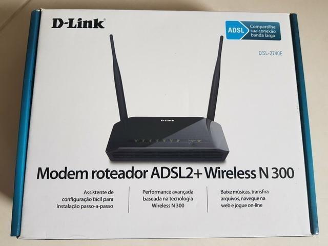 Modem e Roteador Wireless D-link DSL-2740 e N300 mbps ADSL2 + 4 Portas Lan Fast-ethernet