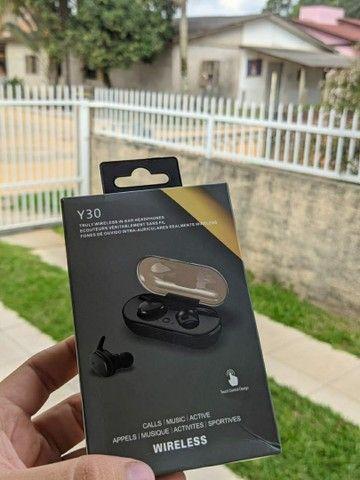 Fone bluetooth sem fio Y30 touch troca músicas sem precisar mexer no celular  - Foto 2