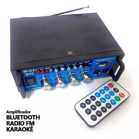 Amplificador Áudio Stereo Bluetooth Rádio Fm Karaokê Bt-188a - Foto 2