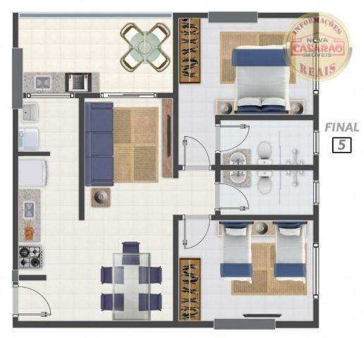 Apartamento com 2 dormitórios à venda, 58 m² por R$ 299.700,00 - Canto do Forte - Praia Gr - Foto 17