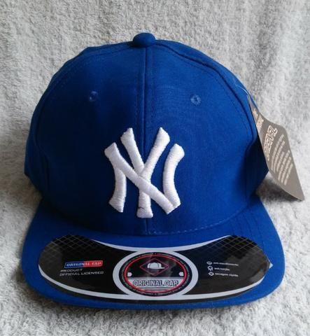 Boné aba reta New York Snapback azul ou rosa - Bijouterias b999da999c6