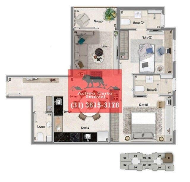 Apartamentos novos com 1 e 2 quartos à venda no bairro Santo Agostinho em BH - Foto 14