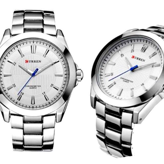 Relógio Masculino Marca: Curren 8109, Novo Prata e Branco - Foto 2