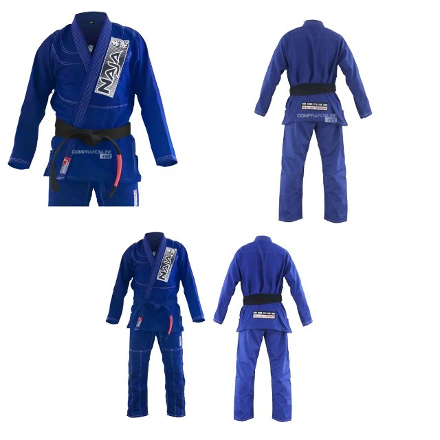 Kimono Jiu Jitsu Jiu-Jitsu Naja Brave Azul Reforçado Adulto Somos Loja - Foto 6