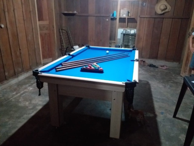 Mesa Tentação de Bilhar Cor Noce Tecido Azul Mod. BASE8487 - Foto 3