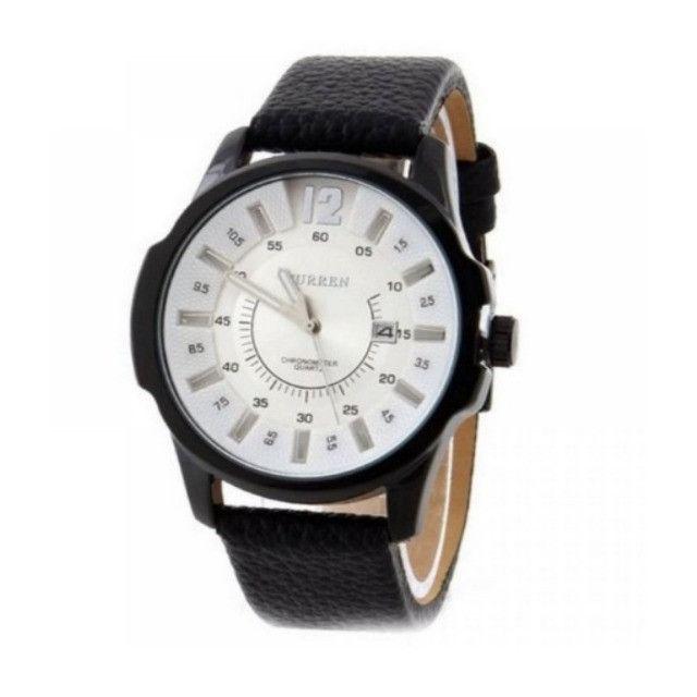 Relógio Masculino Marca: Curren 8123, Novo com pulseira em couro - Foto 2