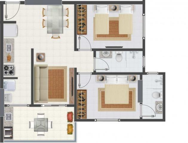 Apartamento com 2 dormitórios à venda, 58 m² por R$ 299.700,00 - Canto do Forte - Praia Gr - Foto 3