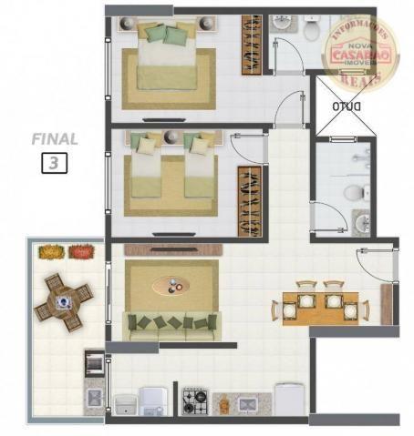Apartamento com 2 dormitórios à venda, 58 m² por R$ 299.700,00 - Canto do Forte - Praia Gr - Foto 15