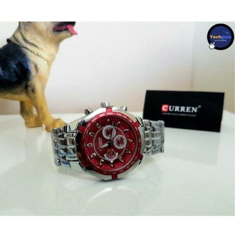 40986aadd58 Relógios De Luxo Curren aço inoxidável visor em vidro