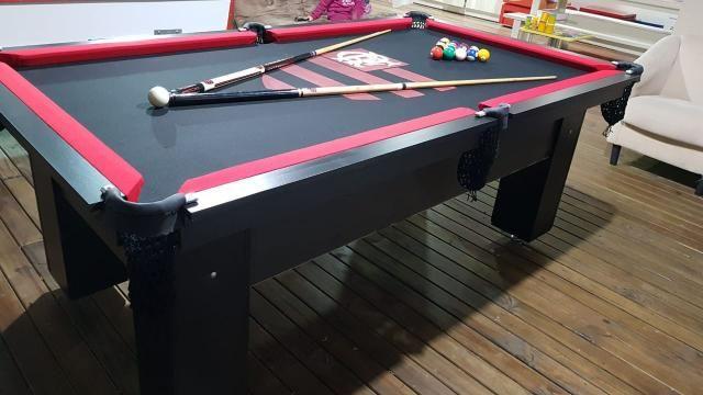 Mesa de Bilhar Cor Preta Tecido Preto Bordas Vermelhas Flamengo Modelo FLA1028 - Foto 2