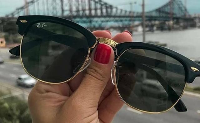 4af43c696 Óculos de sol Ray Ban Clubmaster Preto com dourado RB3016 clássico ...