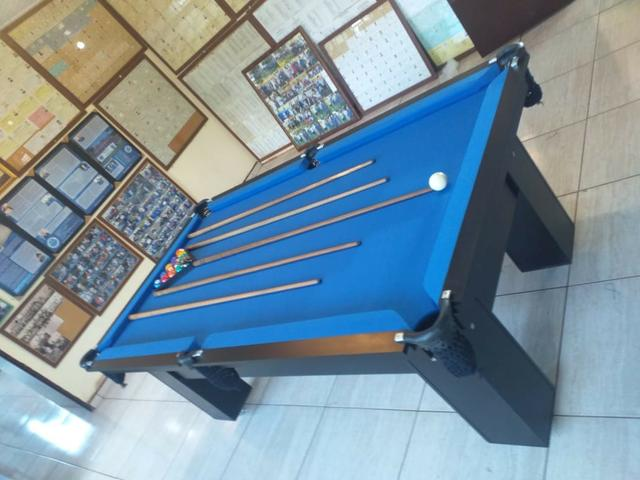 Mesa Charme de Sinuca Cor Preta Tecido Azul Mod. BWKV494